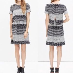 MADEWELL silk striped hashtag two piece dress